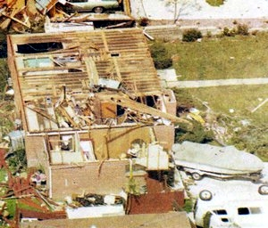 One common myth is that tornadoes don't strike metropolitan areas.  This has been disproved many times including here in Colorado in 1982 when an F2 tornado struck Thornton.  Image courtesy the City of Thornton archives.