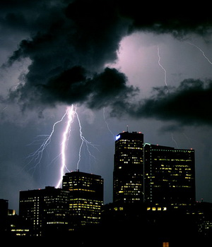Lightning flashes over downtown Denver.  (Wikipedia)