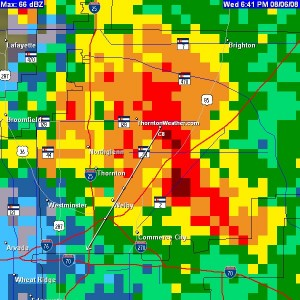 "The Thornton radar image when the storm was at its height. The storm dumped over 2"" of rain in 1 hour."