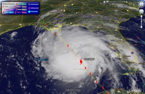 Hurricane Gustav image from Google Earth as of 10:00am MDT Sunday.
