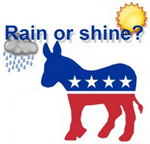 Will Obama accept the nomination in rain or shine?