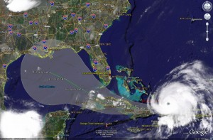 Satellite image of Ike and it's predicted path as of Sunday morning.  Click for larger image.