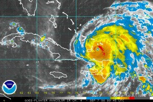 Infrared satellite image of Hurricane Ike as it nears Cuba.