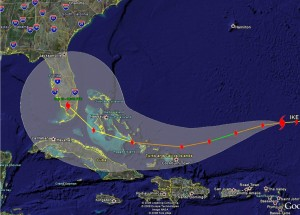 Hurricane Ike could be very dangerous and is on track to hit southern Florida.  Click for a larger image.