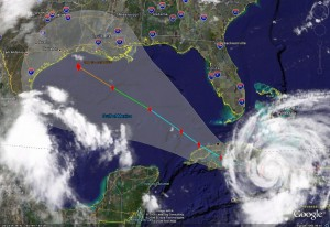 Satellite image of Hurricane Ike showing its predicted path as of Monday.  Click for larger version.