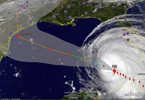 Satellite image of Hurricane Ike and its predicted path as of Wednesday morning.  Click for larger image.