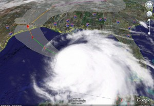 Satellite image of Hurricane Ike and its predicated path as of Thursday, September 11, 2008.  Click for larger version.