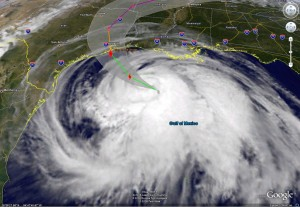 Satellite image and forecast path for Hurricane Ike as of Friday, September 12, 2008.  Click for larger image.