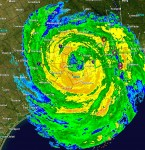Houston radar image as of 3:45am MDT on Saturday, September 13 as Hurricane Ike moves ashore. The eye of the storm is about 17 miles east of the city.  Click for larger image.