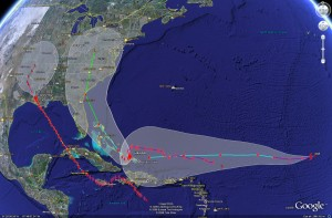 Satellite imagery of the potential tracks of Gustav, Hanna and Ike.  Click for larger version.