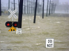Water from the Industrial Canal floods a road in New Orleans after Hurricane Gustav made landfall Monday. Image courtesy Getty Images.