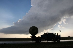 The Doppler On Wheels (DOW) surveys storm clouds looking for tornadoes.