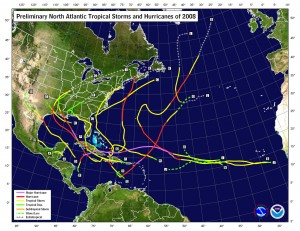 This image shows the tracks of hurricanes that occurred during the 2008 season.  Click for larger image.