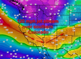120 mph jet stream is sitting over southern Colorado and bringing the cold air down from the north.