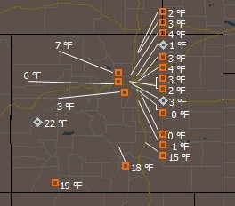 The Rocky Mountain Weather Network is showing temperatures barely above zero across Denver as of 10:00am Sunday morning.