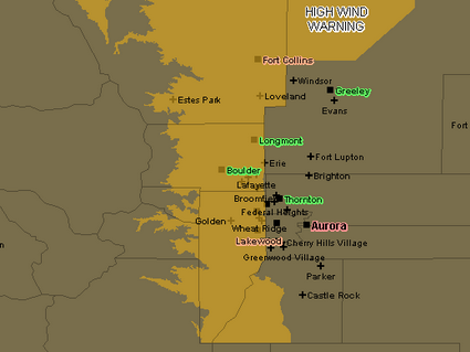 A High Wind Warning is in effect for much of the western part of the Front Range through 8:00am Tuesday.