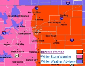 A Blizzard Warning is in effect for all of eastern Colorado, including Thornton.