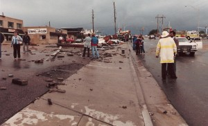 Damage along Washington was extensive from the tornado that struck Thornton on June 3, 1981. (City of Thornton archives)
