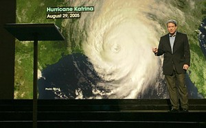 Former vice president Al Gore famously used an image of Hurricane Katrina to illustrate his argument that natural disasters will increase in intensity and frequency.  Empirical data howeverhas shown that is not the case. (An Inconvenient Truth)