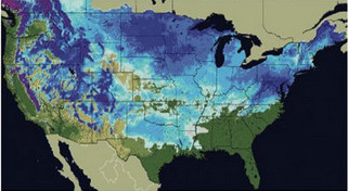 More than two thirds of the United States recorded snow no the ground on Friday.  (National Weather Service)
