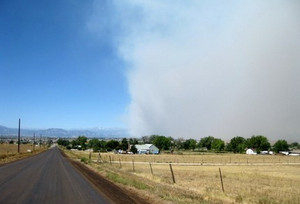 The Fourmile Canyon Fire sent smoke over Thornton on Monday. (ThorntonWeather.com)