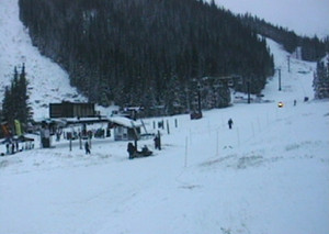 Snow covers Loveland Ski Area this morning as they prepare to open for the first time of the season. (Loveland Ski Area)