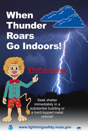 When Thunder Roars, Go Indoors - Lightning Safety Poster (NOAA)