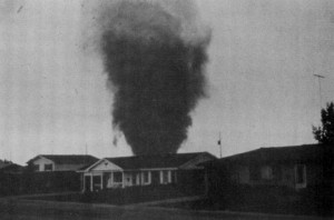June 3, 1981 - An F2 tornado rips through the heart of Thornton, Colorado. (NCAR)
