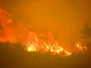 The High Park Fire rages in the mountains west of Fort Collins, Colorado.  The dry conditions have prompted the state to ban all open burning and personal use of fireworks.
