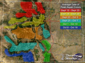 Colorado Fall Foliage - Average Date of Peak Aspen Colors. Click for larger view. (ThorntonWeather.com)