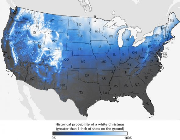 Historical Probability of a White Christmas. (NOAA)