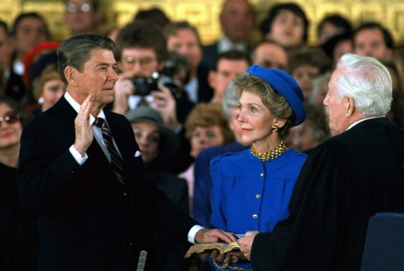 """President Ronald Reagan's swearing in was the coldest in history but there has been other notable weather on Inauguration Day. (White House)"