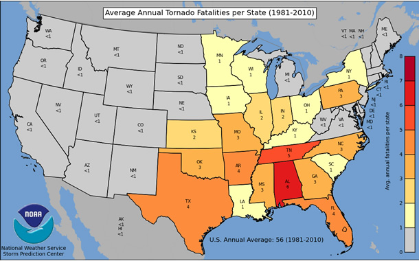 Annual Average Number of Tornado Deaths by State - 30 Year Average